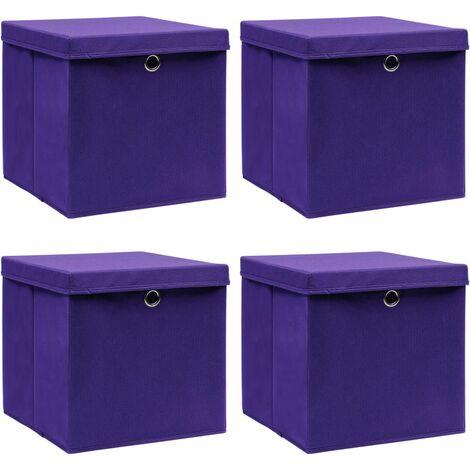 vidaXL Storage Boxes with Lids 4 pcs Purple 32x32x32 cm Fabric - Purple