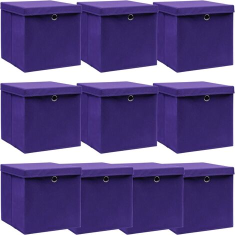 vidaXL Storage Boxes with Lids 10 pcs Purple 32x32x32 cm Fabric - Purple