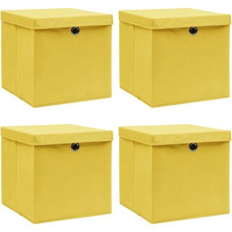 vidaXL Storage Boxes with Lids 4 pcs Yellow 32x32x32 cm Fabric - Yellow