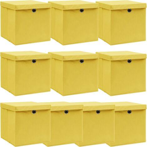 vidaXL Storage Boxes with Lids 10 pcs Yellow 32x32x32 cm Fabric - Yellow