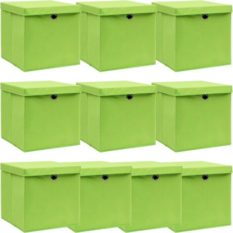 vidaXL Storage Boxes with Lids 10 pcs Green 32x32x32 cm Fabric - Green