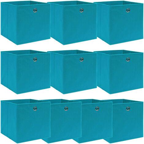 vidaXL Storage Boxes 10 pcs Baby Blue 32x32x32 cm Fabric - Blue