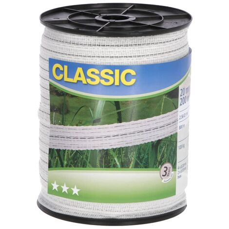 Neutral Electric Fence Tape Classic 200m 20mm White - White