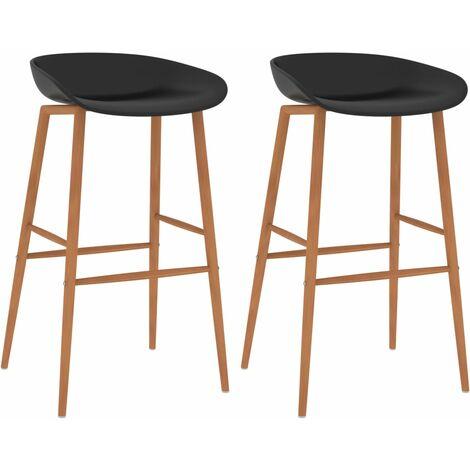 vidaXL Bar Chairs 2 pcs Black - Black