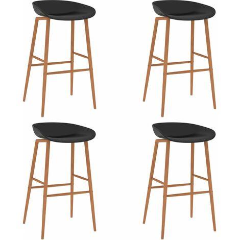 vidaXL Bar Chairs 4 pcs Black - Black