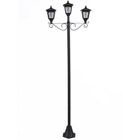 Luxform Solar LED Garden Post Lamp with 3 Lanterns Brooklyn Black - Black