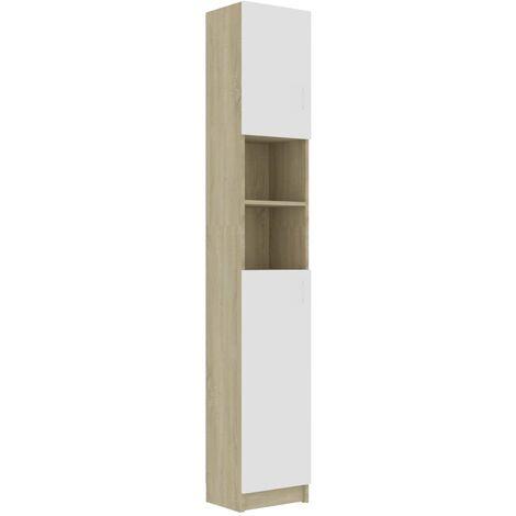 vidaXL Bathroom Cabinet White and Sonoma Oak 32x25.5x190 cm Chipboard - Beige