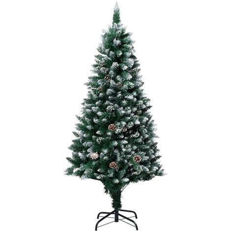 vidaXL Artificial Christmas Tree with Pine Cones and White Snow 180 cm - Green