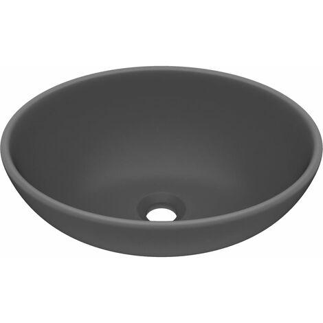 vidaXL Luxury Basin Oval-shaped Matt Dark Grey 40x33 cm Ceramic - Grey