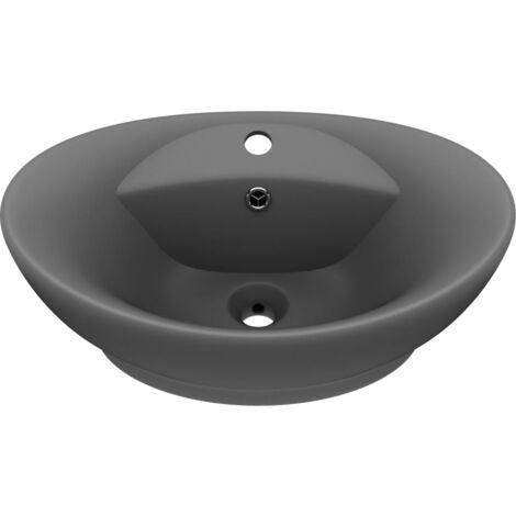 vidaXL Luxury Basin Overflow Oval Matt Dark Grey 58.5x39 cm Ceramic - Grey