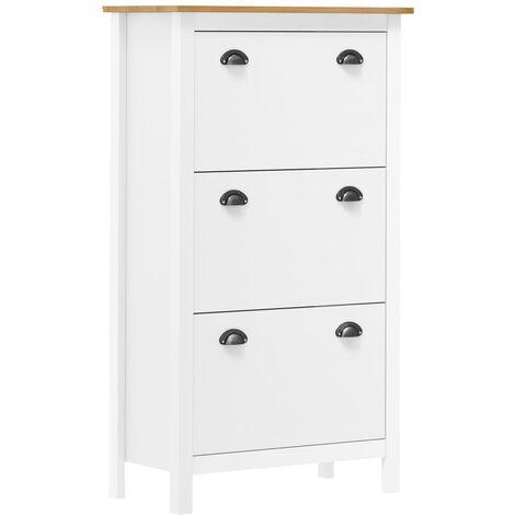 vidaXL Shoe Cabinet Hill Range White 72x35x124 cm Solid Pine Wood - White