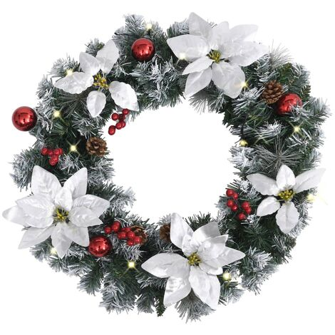 vidaXL Christmas Wreath with LED Lights Green 60 cm PVC - Green