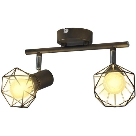 Black Industrial Style Wire Frame Spot Light with 2 LED Filament Bulbs - Black