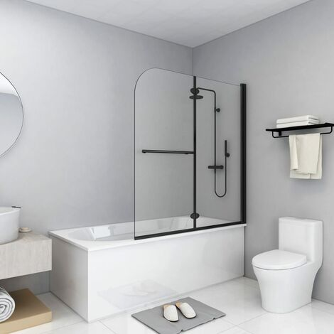 vidaXL Folding Shower Enclosure 2 Panels ESG 120x140 cm Black