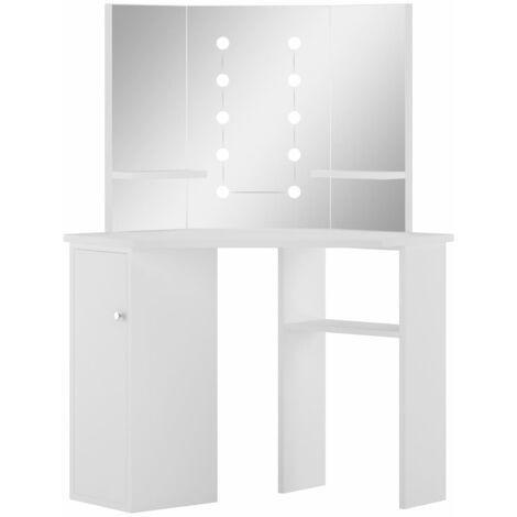 vidaXL Corner Dressing Table Make-up Table White with LED Light - White