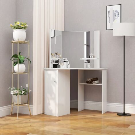 vidaXL Corner Dressing Table Cosmetic Table Make-up Table White - White