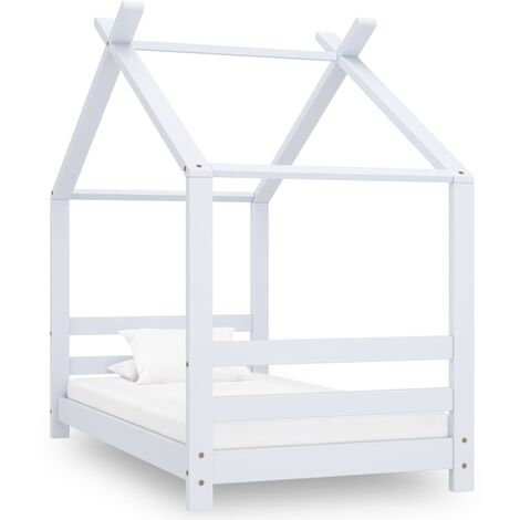 vidaXL Kids Bed Frame White Solid Pine Wood 70x140 cm - White