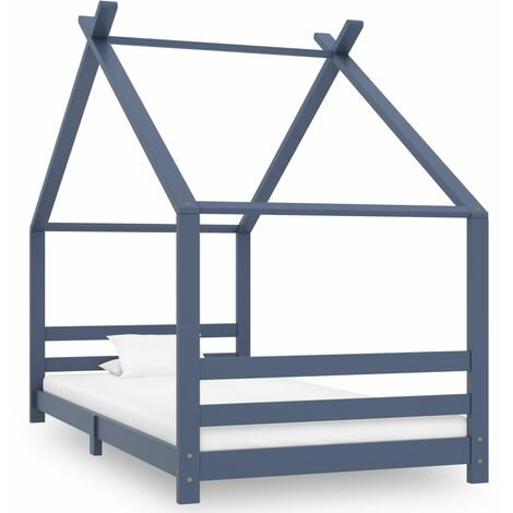vidaXL Kids Bed Frame Grey Solid Pine Wood 90x200 cm - Grey