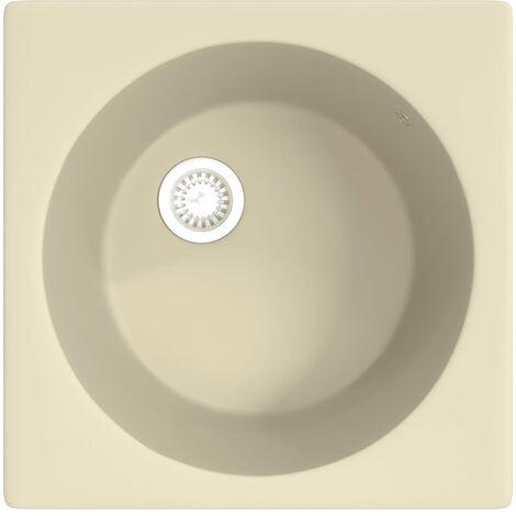 vidaXL Kitchen Sink with Overflow Hole Beige Granite - Beige