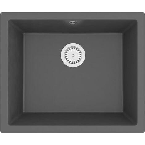 vidaXL Kitchen Sink with Overflow Hole Grey Granite - Grey