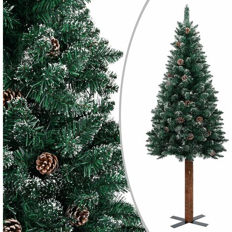 vidaXL Slim Christmas Tree with Real Wood and White Snow Green 210 cm - Green