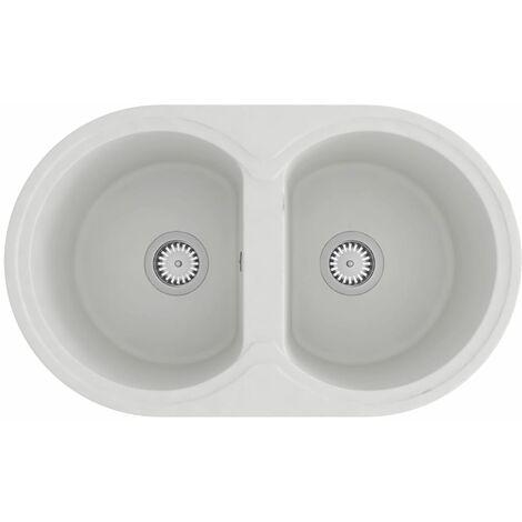 vidaXL Kitchen Sink Double Basins Oval White Granite - White