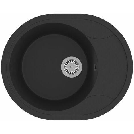 vidaXL Kitchen Sink with Overflow Hole Oval Black Granite - Black