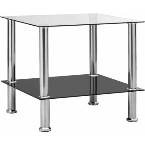 vidaXL Side Table Transparent 45x50x45 cm Tempered Glass - Transparent