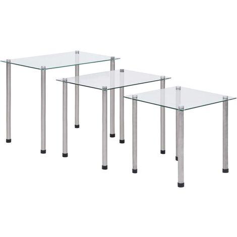 vidaXL Nesting Tables 3 pcs Transparent Tempered Glass - Transparent