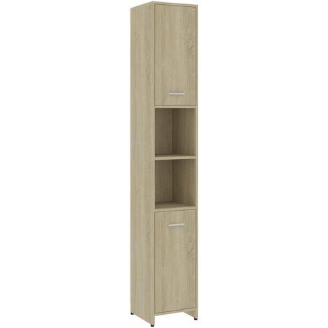vidaXL Bathroom Cabinet Sonoma Oak 30x30x183.5 cm Chipboard - Brown