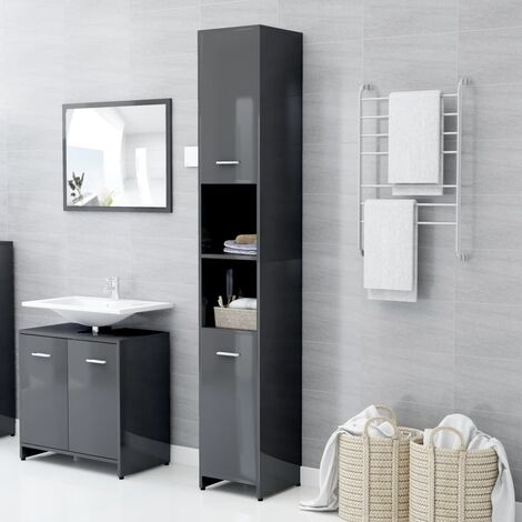 vidaXL Bathroom Cabinet High Gloss Grey 30x30x183.5 cm Chipboard - Grey