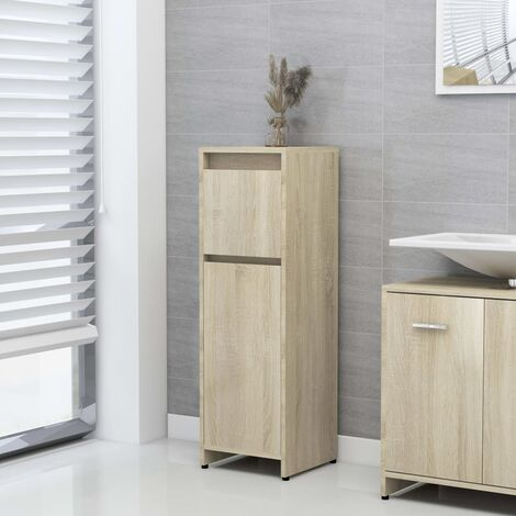 vidaXL Bathroom Cabinet Sonoma Oak 30x30x95 cm Chipboard - Brown