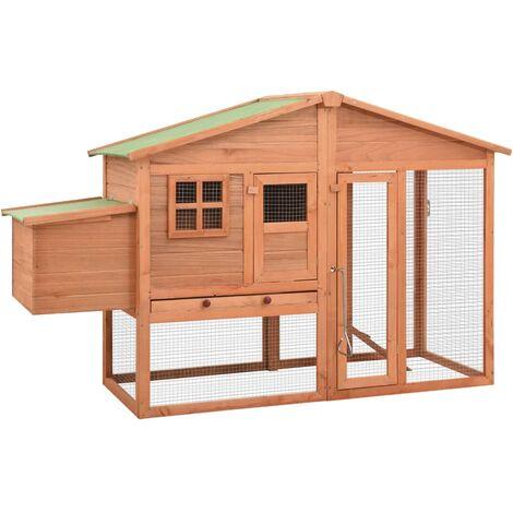 vidaXL Chicken Coop with Nest Box Solid Fir Wood - Brown