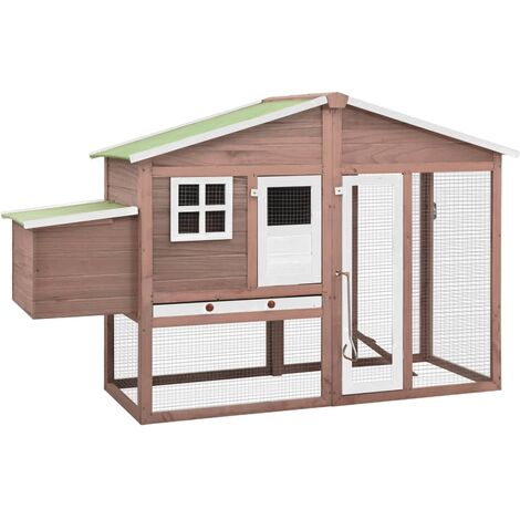 vidaXL Chicken Coop with Nest Box Mocha and White Solid Fir Wood - Brown
