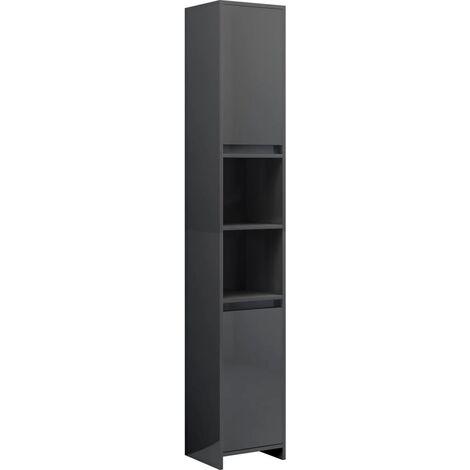 vidaXL Bathroom Cabinet High Gloss Grey 30x30x183.5 cm Chipboard