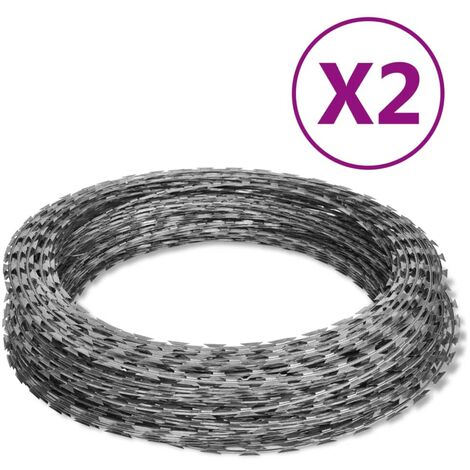 NATO Razor Wires Helical Wire Rolls 2 pcs Galvanized Steel 60 m