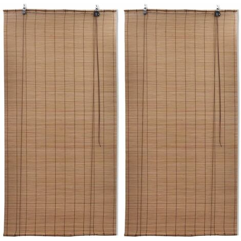 vidaXL Bamboo Roller Blinds 2 pcs 80x160 cm Brown - Brown