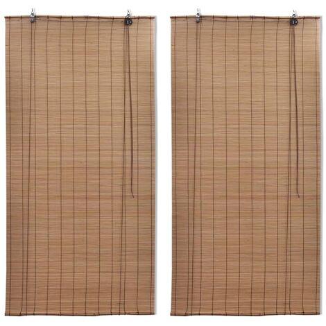 vidaXL Bamboo Roller Blinds 2 pcs Brown 120x220 cm - Brown