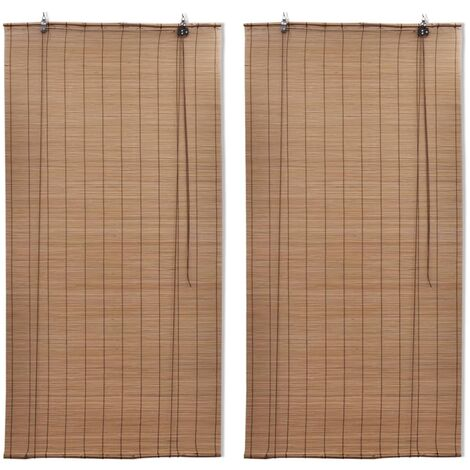 vidaXL Bamboo Roller Blinds 2 pcs 150x220 cm Brown - Brown