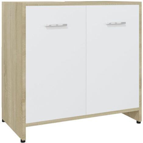 vidaXL Bathroom Cabinet White and Sonoma Oak 60x33x58 cm Chipboard - Beige