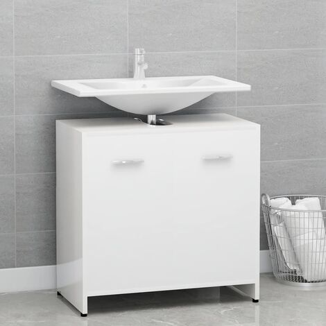vidaXL Bathroom Cabinet High Gloss White 60x33x58 cm Chipboard - White