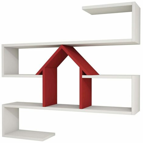 Homemania Wall Shelf Nest 100x22x93cm White and Red - Multicolour