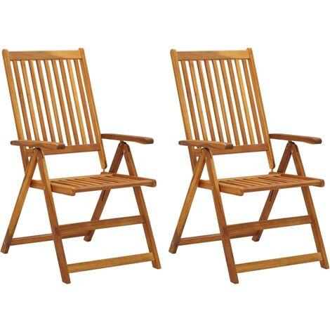 vidaXL Garden Reclining Chairs 2 pcs Solid Acacia Wood - Brown