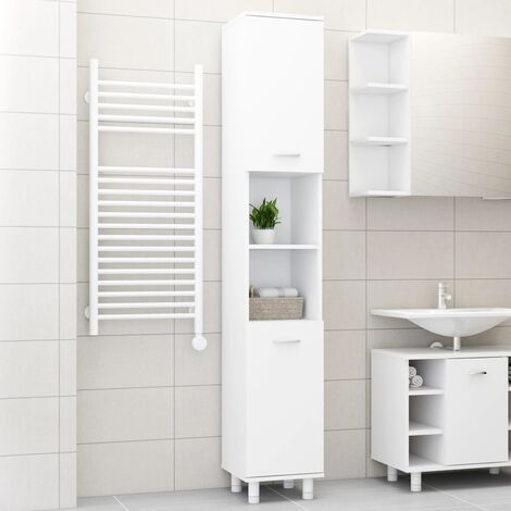 vidaXL Bathroom Cabinet White 30x30x179 cm Chipboard - White