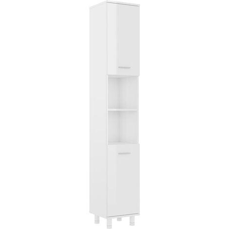 vidaXL Bathroom Cabinet High Gloss White 30x30x179 cm Chipboard - White