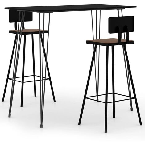 vidaXL Bar Set 3 Piece Black - Black