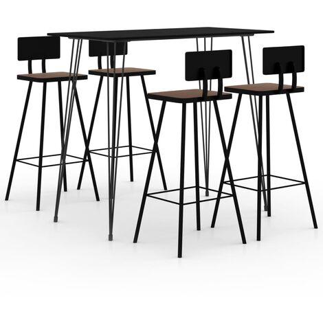 vidaXL Bar Set 5 Piece Black - Black