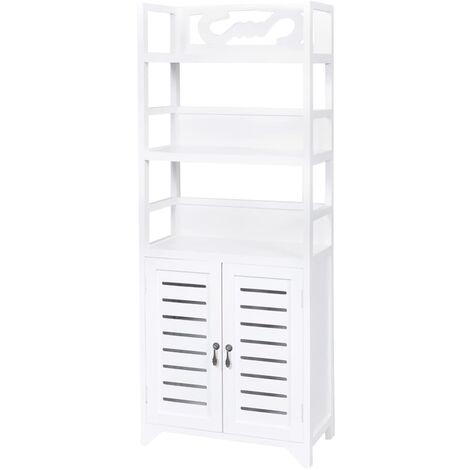 vidaXL Bathroom Cabinet Albuquerque Wood White 46x24x117.5 cm - White