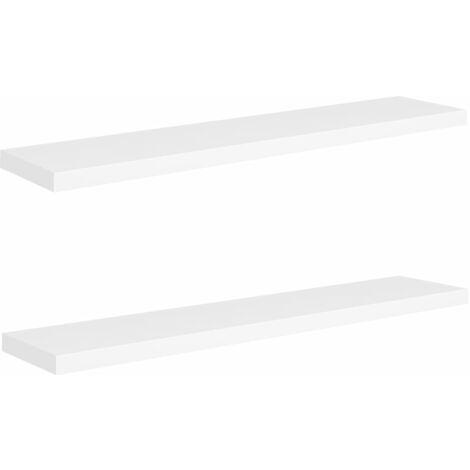 vidaXL Floating Wall Shelves MDF 2 pcs White 120x23.5x3.8 cm - White