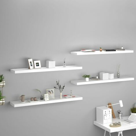 vidaXL Floating Wall Shelves MDF 4 pcs White 120x23.5x3.8 cm - White
